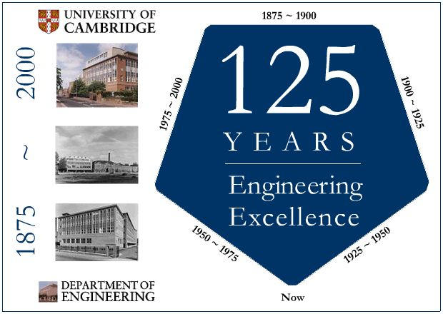 Cambridge University Engineering Department 125th Anniversary - Logo and links to enter the site